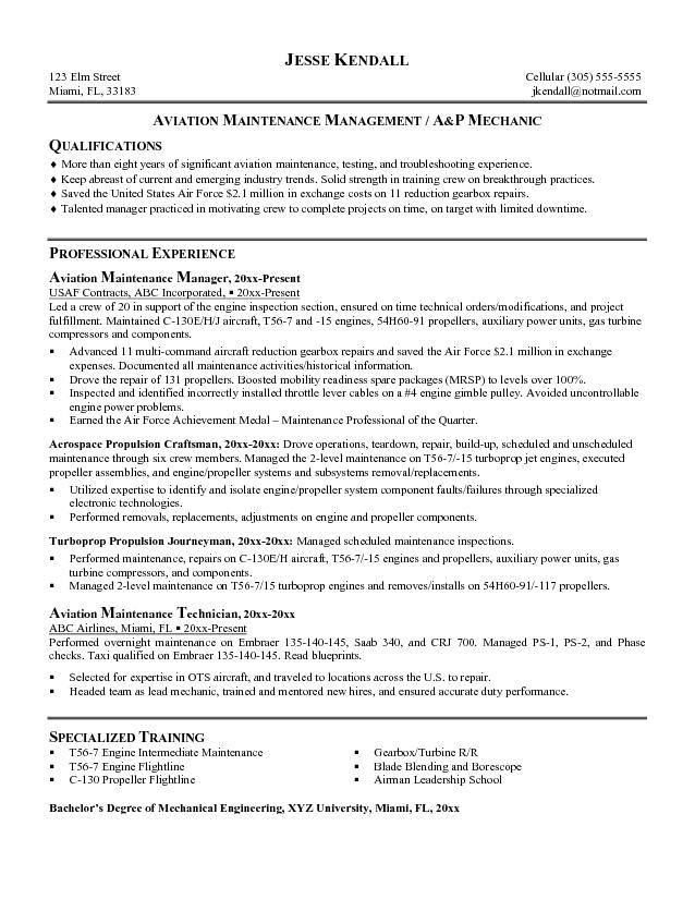 aviation maintenance manager cover letter examples cv examples - Building Maintenance Resume Samples