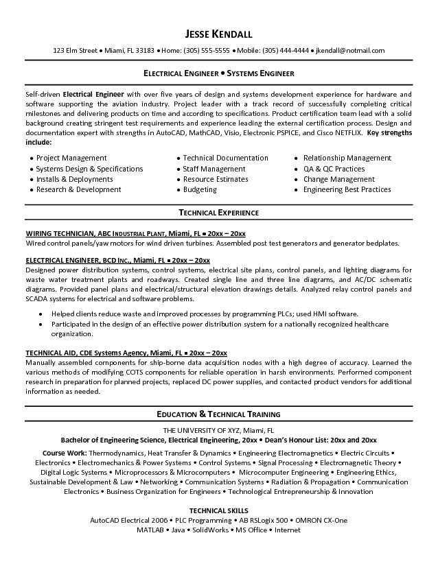 Free Electrical Engineer Resume Example