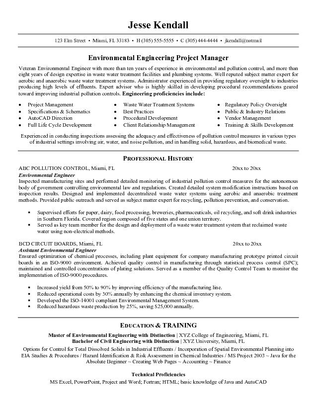 free environmental engineer resume example