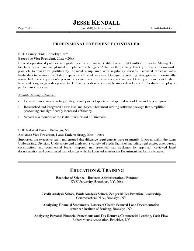 free bank vp resume example