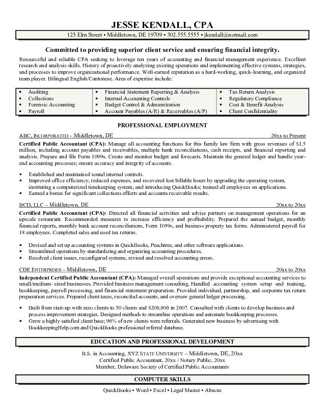 free certified public accountant  cpa  resume example