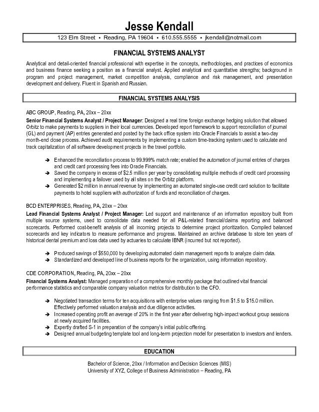 Systems Analyst Sample Resume - Madrat.Co