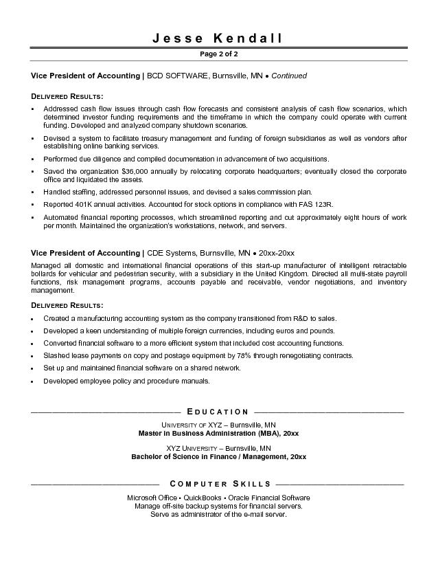 free vice president of accounting resume exle