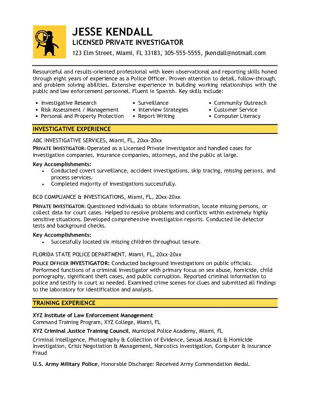 Free Private Investigator Resume Example