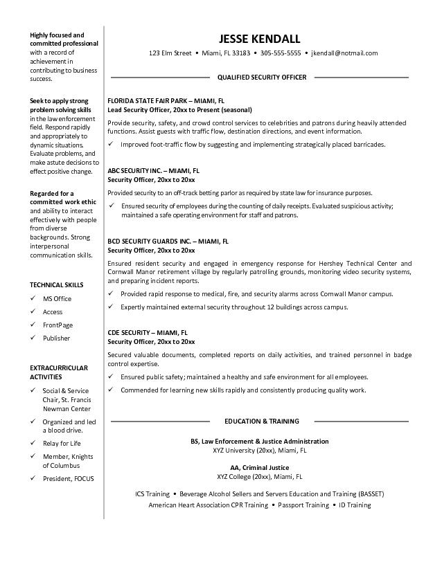 resume samples types of resume formats examples and templates good us resume samples sample resume cv - Law Enforcement Resume Objective
