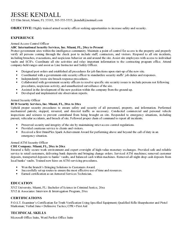 Guard Resume Security Officer Resume Objective Examples - security guard resume example